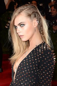 Cara Delevigne's braided undercut at the 2013 Met Gala - Burberry