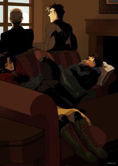 Alfred Pennyworth, Jason Todd, Damian Wayne, Tim Drake, and Dick Grayson Nightwing, Batgirl, Tim Drake, Damian Wayne, Jason Todd, Red Hood, Robins, Dc Comics, Univers Dc