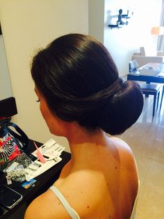 Brides trial; a simple chignon by Jo black. Learn how to achieve this look visit my web site; joblackweddinghairspecialist.com July Wedding, Wedding 2015, Over Ear Headphones, Brides, Simple, Black, Black People, The Bride, Bridal