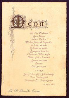 Menú, s.n., s.l., 12 de maig de 1900