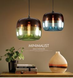 Kitchen pendent in blue pendant nordic apple glass -