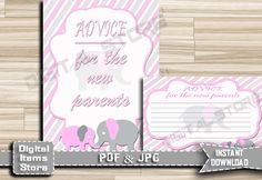 Advice For Parents To Be - Advice For Mommy To Be - Advice Cards - Advice Sign - Baby Shower Advice, Pink, Gray, Elephant - INSTANT DOWNLOAD by DigitalitemsShop on Etsy