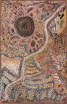 Johnny Warangkula Tjupurrula - Bush Tucker Dreaming with Running Water 1972  45.5 x 29.5 cm