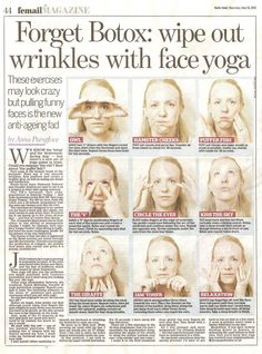 Wipe out wrinkles with face yoga! Wipe out wrinkles with face yoga! Yoga Facial, Massage Facial, Anti Rides Yeux, Face Yoga Exercises, Too Faced, Excercise, Yoga Poses, Health And Beauty, Wellness