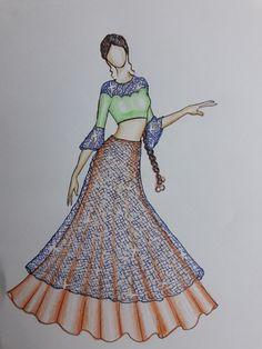 It so pretty look😘 Dress Design Sketches, Fashion Design Sketchbook, Fashion Design Drawings, Fashion Sketches, Fashion Drawing Dresses, Fashion Illustration Dresses, Dress Illustration, Drawing Fashion, Ethnic Fashion