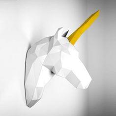 Papertrophy Papier-Wandtrophäe Einhorn weiß/gold