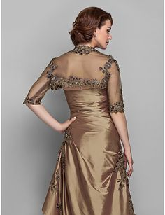 A-line Plus Sizes / Petite Mother of the Bride Dress - Brown Floor-length Half Sleeve Taffeta / Lace – USD $ 113.99