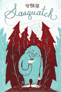 """• 12"""" x 18""""  • 2 color screen print  • Illustration by Julian Baker  Buy the Monster Friends 4 Poster Set and Save $20    In this rare sighting of the Sasquatch, we see him in his element as he  truly is; a gentle beast with a love of nature."""