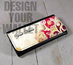Womens Wallet Leather bifold elegant floral design. card #floral #floraldesign #flowers