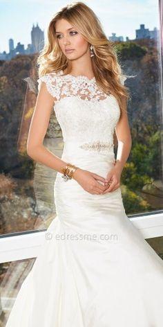 Camille La Vie Bridal Illusion Lace Neck Wedding Dresses
