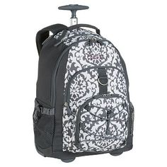Gear-Up Gray Damask Rolling Backpack #potterybarnteen  Maxine wants for School
