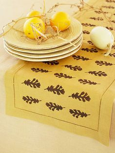 So Easy Table Runner same as pillow case, stamp or stencil and fabric paint