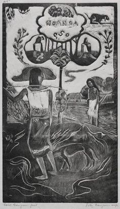 GAUGUIN, Paul French Post-Impressionist (1848-1903)_Noa Noa Series-Nave  (Fragrant Scent) Woodcut [During his first visit to Tahiti (1891-1893), Paul Gauguin documented his experiences in his travel journal, Noa Noa. During his first visit to Tahiti (1891-1893), Paul Gauguin documented his experiences in his travel journal, Noa Noa.]