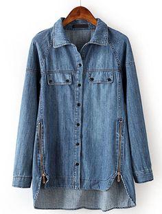 Blue Lapel Long Sleeve Side Zipper Denim Blouse pictures - not keen on the denim but love the zips at the hem Denim Blouse, Denim Coat, Denim Shirt, Blue Blouse, Blue Jeans, Blue Denim, Cute Blouses, Blouses For Women, Denim Fashion