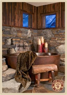 www.highcamphome.com ~ rustic bath - love the the tub!