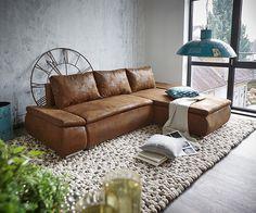 DELIFE Couch Abilene Braun 260x175 mit Bettfunktion Ottomane variabel für 729,00€. Material: Mikrofaserstoff, Oberfläche: antik / rustikal bei OTTO