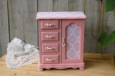 Hey, I found this really awesome Etsy listing at https://www.etsy.com/listing/161382827/pink-shabby-chic-jewelry-box-armoire