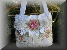 Upcycled brocade doily rosette bag