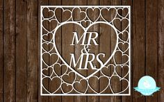 PAPER CUTTING TEMPLATE Wedding Mr & Mrs hearts by SmallBirdCrafts