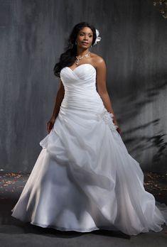 Brides: Alfred Angelo. Style 2353, satin organza wedding dress with rhinestones, crystal beading, taffeta and organza flowers, $1,099, Alfred Angelo