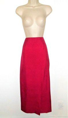 6105eb182b Vtg Ellen Tracy Silk Pencil Skirt 10 M Fuchsia Pink Midi High Slit Party  #Vintage90s #SilkSkirt #MidiSkirt #PrettyInPink #MidiSkirt