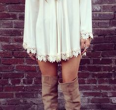 White lace dress and brown boots. #countrystyle