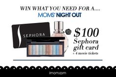 There are many days when we're lucky if we have time to put on lip gloss, much less mascara, and eye shadow! And since we all know a great nail color can brighten a mom's day, today's giveaway is a $100 Sephora gift card plus four tickets to see Moms' Night Out! Enter this awesome giveaway! #Momsnightout #iMOM