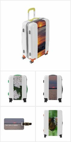 Travel Accessories Luggage, I.D. Tags with Sunset, Boats, Floral, Butterfly nature themes.  Colorful and Fun UGOBAGS Luggage Suitcases 100% hard shell polycarbonate; super lightweight & impact resistant.  360° double spinner wheels.  Choose carry-on, medium or large suitcases.  Choose your Shell, Handles, Bumper and Wheel Colors.  Personalize with a name or wording for Free!  Original Photography by TamiraZDesigns via: www.zazzle.com/tamirazdesigns*