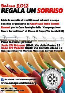 Il Mamilio - Solidarietà, Casapound: raccolta abiti per la Casa Famiglia delle suore Carmelitane