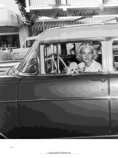 C.Z. Guest from the book, C.Z. Guest: American Style Icon by Susanna Salk. C.Z. sits in a parked car with her two dogs, a poodle and a Great Dane, Worth Avenue, Palm Beach, 1952. Photo by Bert Morgan.