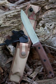"Ontario Bushcraft Field Knife Fixed 5"" 5160 Carbon Blade, Walnut Wood Handles, Nylon Sheath - KnifeCenter"