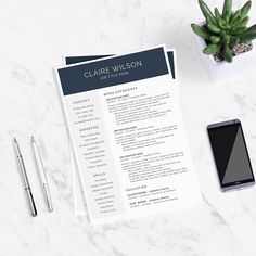 MODERN CV DESIGN - Professional Resume Template + Cover Letter for Word by theResumeDesign.e