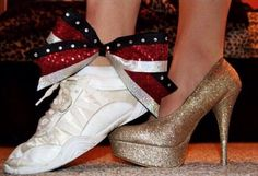 Good senior picture idea!!! With a cheer shoe and cheer ribbon then a softball cleat and a softball bow!! So cute!!!