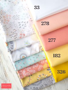 Lily plus 5 RJR Cotton Supreme Solid coordinates, available at Bloomerie Fabrics