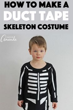 Last minute parents, have no fear! Halloween is just around the corner. Grab your duct tape and let's make this super easy skeleton costume. Skeleton Costume Women, Skeleton Halloween Costume, Skeleton Shirt, Halloween Skeletons, Halloween Costumes For Kids, Vintage Halloween, Halloween Crafts, Vintage Witch, Halloween Halloween