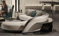Sofa Furniture, Modern Furniture, Chaise Sofa, Couch, Luxury Yacht Interior, Single Sofa Chair, Round Sofa, Curved Sofa, Chair Design