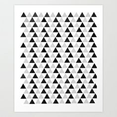 Black and White Triangles Art Print by One Happy Mess - $19.76
