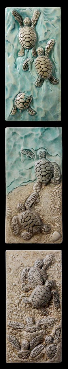 Ceramic sculpted set, Baby sea turtle triptych