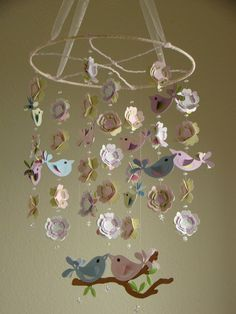 Love Bird Baby Mobile COLORFUL by magicalwhimsy on Etsy, $80.00