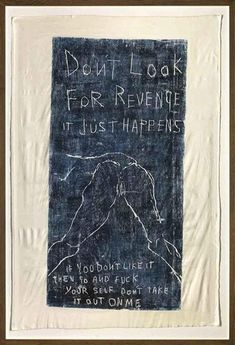 View It Just Happens By Tracey Emin; woodcut print on calico with embroidery; Access more artwork lots and estimated & realized auction prices on MutualArt. Tracey Emin Art, Colour Architecture, Textile Sculpture, Dark And Twisted, A Level Art, Feminist Art, Art File, Art Studies, Art Boards