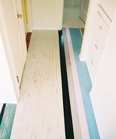 Fabulous stripes on a painted wooden floor.