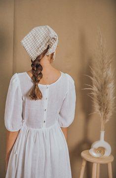 White Dress Summer, Summer Dresses, White Linen Dresses, Bandana Hairstyles, Clothing Photography, Fashion Outfits, Womens Fashion, Gothic Fashion, Fashion Ideas