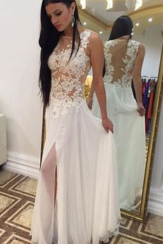 White Prom Dress,White prom Dresses,White evening Gowns,Beautiful slit