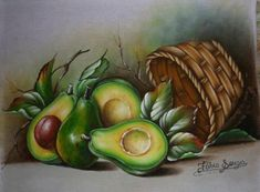 Fruit Painting, China Painting, Fabric Painting, Green Fruit, Fruit And Veg, Fruit Picture, Healthy Vegetables, Fruit Art, Cool Paintings