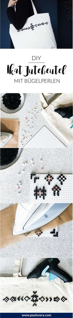 Beading DIY: Stylish jute bag with ikat pattern, DIY bag with beads! Modern and stylish ideas with beaded beads? I& show you how you can conjure a stylish shopping companion with ikat pattern w. Diy Projects To Sell, Diy Wood Projects, Diy Crafts To Sell, Motif Ikat, Ikat Pattern, Beaded Beads, Diy Home Accessories, Diy Mode, Jute Bags