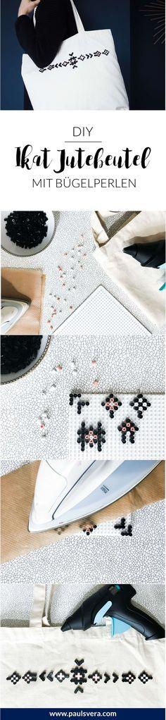 DIYJutebeutel mit Bügelperlen! Moderne und stylische Ideen mit Bügelperlen? Ich zeige dir, wie du mit Bügelperlen einen stylischen Shopping-Begleiter mit Ikat Muster zaubern kannst! Eine Bügelperlen-Vorlage findest du natürlich auch, um deinen Jutebeutel ganz einfach zu gestalten. Dank Steckperlen ein Do it yourself oder DIY Projekt für jeden!
