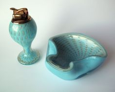 Vintage Art Glass 1950s Italian Murano Bullicante Ashtray and Lighter by PoorLittleRobin on Etsy, $190.00