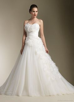 Justin Alexander Spring 2012 bridal collection. Strapless ball gown with  soft sweetheart accented with laser 72e915f8d5ea