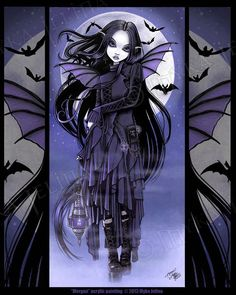 Gothic Vampire Bat Purple Moon Morgan Fairy Signed Myka Jelina Art Print in Art, Artists (Self-Representing), Prints | eBay