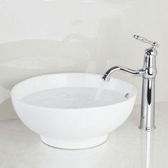 Yanksmart Bathroom Sink White Ceramic Washbasin +Chrome Brass Basin Faucet TD300697051 Lavatory Combine Set Faucet,Mixer Tap